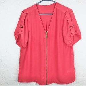 Michael Michael Kors Pink Top with Gold Details-M